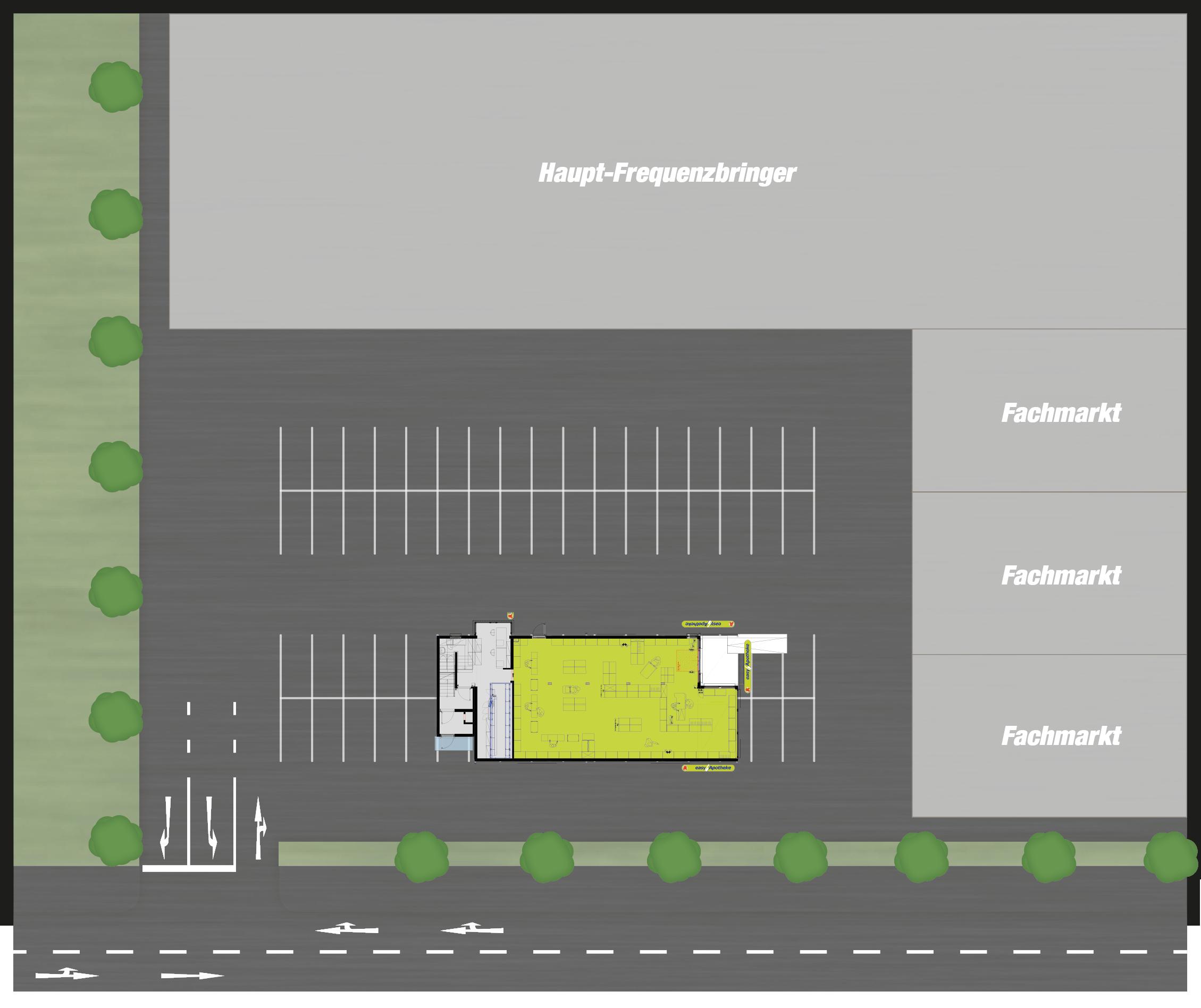easyApotheke - Standort anbieten - Parkplätze und Grundstücke für Modul - Mustergrundriss mit Lageplan
