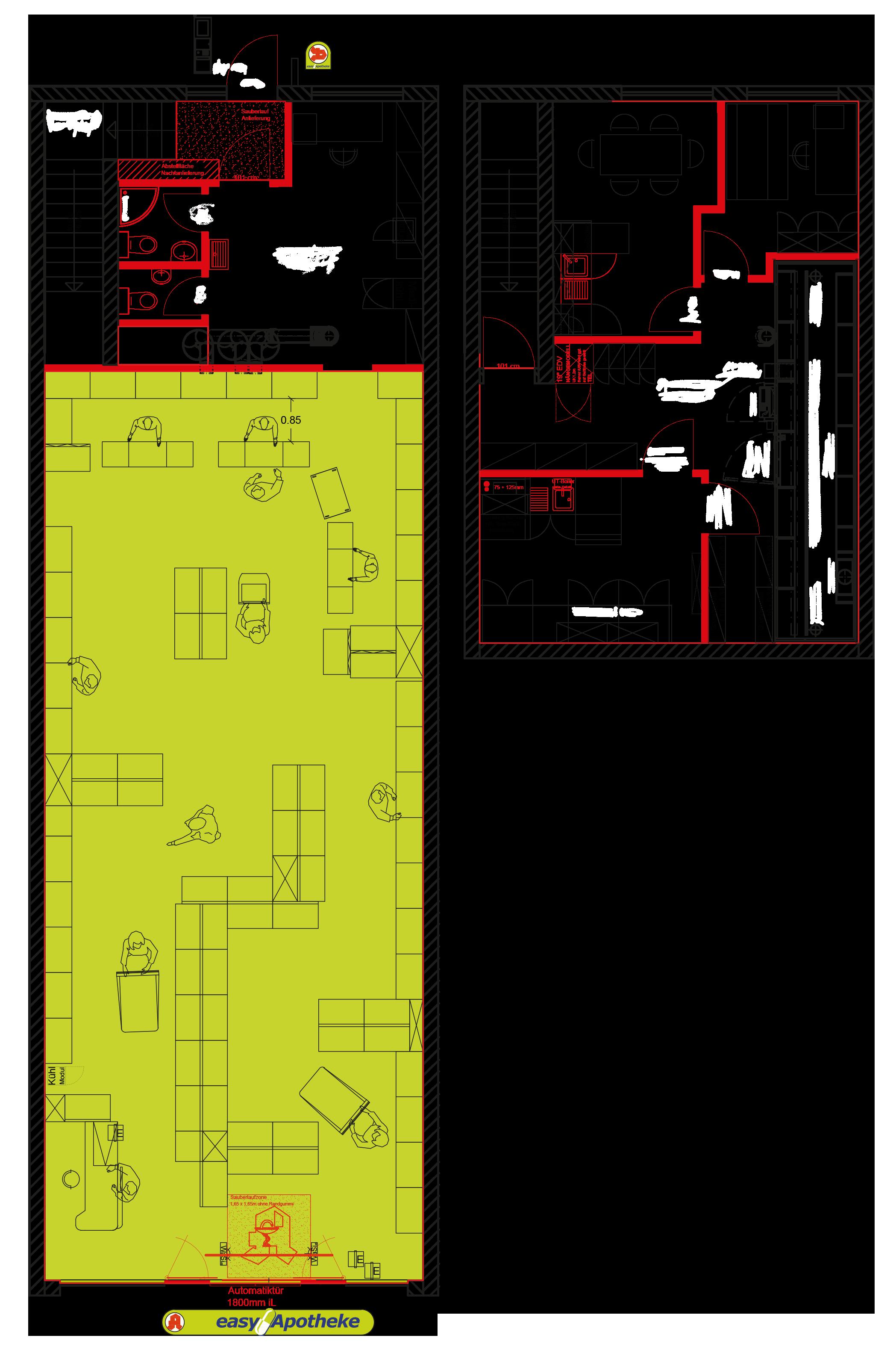easyApotheke - Standort anbieten - Vorkassenzonen - Mustergrundriss